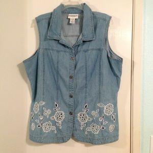 🌸Serengeti brand chambray vest